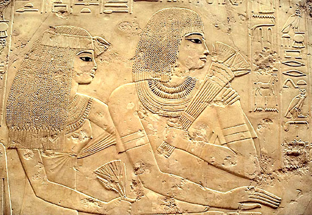 Egyptian culture at a highest stage; relief with a noble pair. 18th dynasty - just when Moses lived